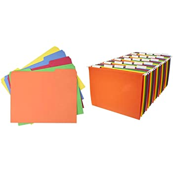 AmazonBasics 1/3-Cut, Assorted Position File Folders, Letter Size, Assorted Colors - Pack of 100 & Hanging File Folders, Letter Size, Assorted Colors - Pack of 25