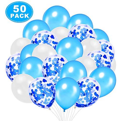 Nasharia Luchtballonnen, 50 stuks, blauw, 12 inch (30,5 cm), blauwe confettiballonnen, helium ballonnen voor bruiloft, Valentijnsdag, meisjes, kinderen, verjaardag, feestdecoratie