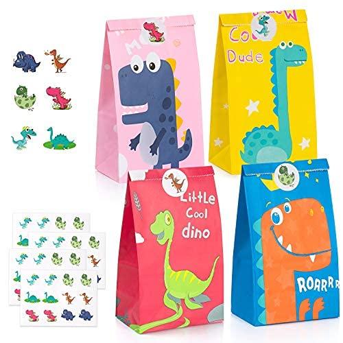 40 PCS Bolsas de Fiesta Dinosaurios, ZWOOS Bolsa de Dulces de Dinosaurio Bolsas de Papel de Caramelos Bolsa de Regalo Cumpleaños Infantil con 48 Pegatinas para Fiesta, Los Reyes Magos, Golosinas