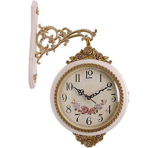 QCSMegy Orologio da parete europeo su due lati da parete per soggiorno, decorazione da parete da appendere alla parete, orologio al quarzo creativo pastorale Wind Watch (colore: bianco)
