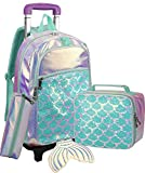 Rolling Backpack for Girls Mermaid Magic Sequin School Bag with Lunch Box Girls Rolling Backpack...