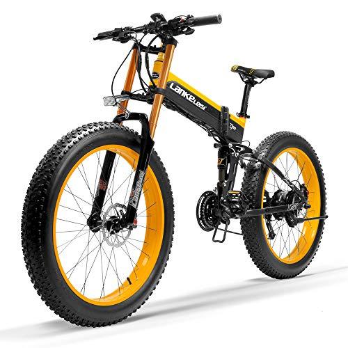 T750Plus New Mountain Bike elettrica, 5 livelli di assistenza al pedale sensore, Snow Bike, 48V 14.5Ah batteria, aggiornato a forcella in discesa (Nero giallo, 1000W + 1 batteria di ricambio)
