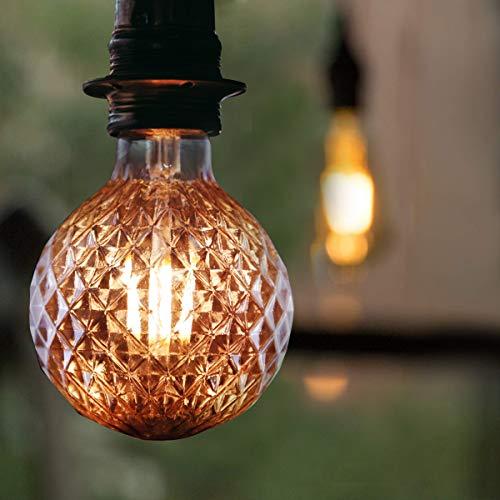 LED Vintage Glühbirne E27 GBLY 4W Retro Edison Glühlampe Dekorative Strukturierte ⌀95mm Warmweiß Globelampe Golden Antike Lampen für Nostalgie & Retro Beleuchtung im Haus Café Bar - nicht dimmbar