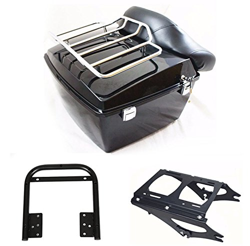 ECOTRIC Black King Tour Pack Trunk Top Rack Backrest Compatible with 09-13 Harley Touring Road King Electra Glide