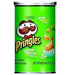 Pringles Potato Crisps Chips, Sour Cream and Onion Flavored, Single Serve, Grab and Go, 2.5 oz Can