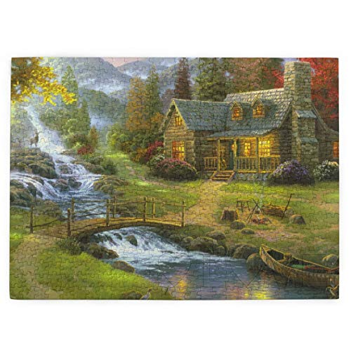 Jigsaw Puzzles 300/500/520/1000 Pieces for Adults, Bridge Canoe...