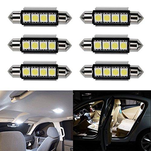 Ralbay 6 x Ultra White 41mm 42mm Festoon LED Bulbs Error Free 212-2 211 578 Car Interior Light Dome Map Courtesy Lamps DC12V