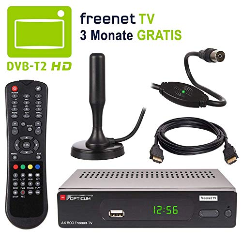 HB-DIGITAL DVB-T2 Set: Opticum AX500 freenetTV HEVC Receiver AX 500 + Xoro HAN 100 Aktive Antenne * Full HD H.265 HDTV HDMI SCART USB LAN Ethernet SPDIF DVBT DVBT2 DVB-T2 Irdeto Verschlüsselung
