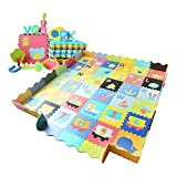 Baby Play Mat with Fence and Tummy Time Mat 6ft x 6ft, Interlocking Floor Mats for Baby Activity Center, 36-Piece Foam Flooring Tiles with 0.56in Thickness
