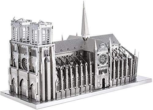 hsj 3D Metall Modellbausatz für Erwachsene, Notre Dame de Paris, DIY 3D Metall Puzzle Exquisite Verarbeitung