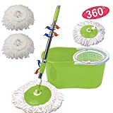 Easy Wring Microfiber Spin Mop & Bucket Floor Cleaning System - 360° Rotation -2 Extra Refills (Green)