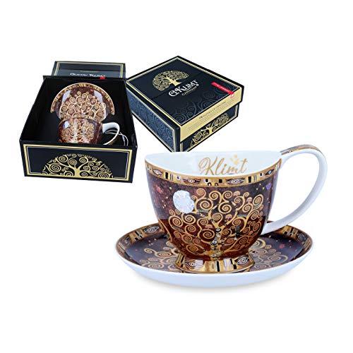 Carmani Tazza da tè e piattino in ceramica, con stampa dell'albero della vita di Gustav Klimt, 320 ml