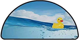 Rubber Duck Comfortable Semicircle Mat,Little Duckling Toy Swimming in Pond Pool Sea Sunny Day Floating on Water for Living Room,33.4