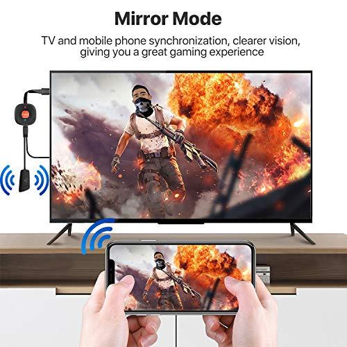 AT-Mizhi Wireless HDMI Dongle Streaming, 4K HDR HDMI WiFi Display Dongle Bildschirm teilen Anzeigeempfänger Unterstützung für Miracast/DLNA/Airplay für Android/iOS/Windows/Mac OS/Monitor/Projektor