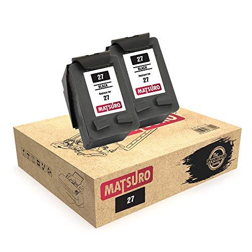 Matsuro Original | Compatible Remanufactured Cartuchos de Tinta Reemplazo para HP 27 (2 Negro)