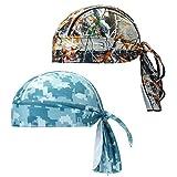CICMOD 2 Pack Sports Bandana Cap Pirat Kopftuch Atmungsaktive Fahrrad Laufen Mütze Kopfbedeckung Biker Kopftuch für Herren Damen Wandern Motorrad Klettern