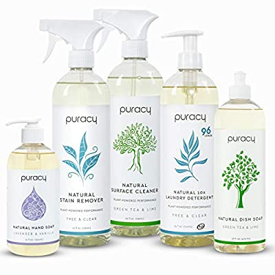 Puracy Natural Home Cleaning Set, Organic Household Cleaners and Hypoallergenic Soaps (5-Pack)