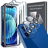 LK [3+3 Stück Schutzfolie Panzerglas für iPhone 12 (6.1), mit Rahmen-Installationshilfe, 3 Stück...