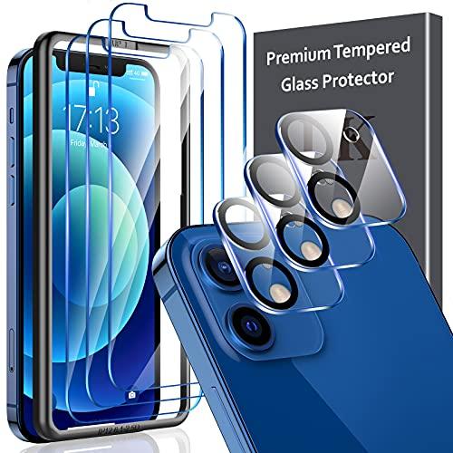 LK 6 Pack Vetro Temperato Compatibile con iPhone 12 (6.1 Pollici), Contenere 3 Pack Pellicola Protettiva e 3 Pack Vetrino Fotocamera Pellicola, Doppia Protezione