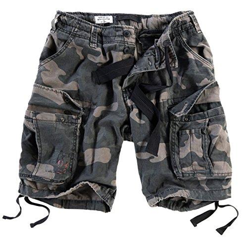 Surplus Men's Airborne Vintage Shorts Washed Black Camo Size XL
