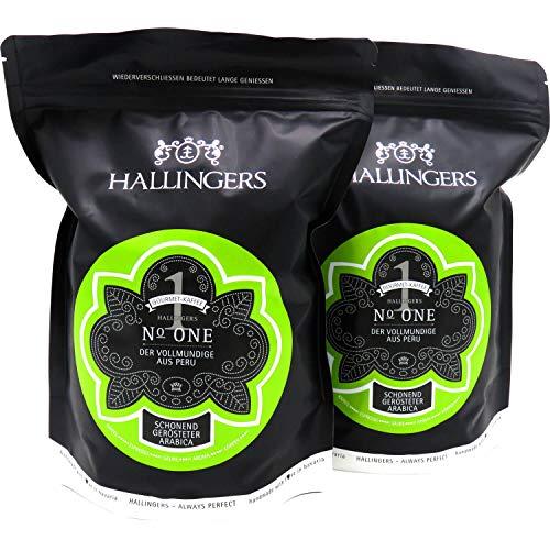 Hallingers Gourmet-Kaffee aus Peru, schonend langzeit-geröstet (1.000g) - No. One, Set 2x 500g (Aromabeutel) - zu Passt immer
