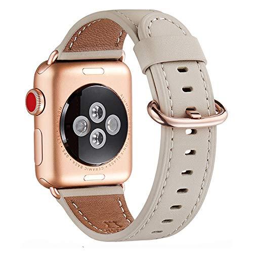 WFEAGL Kompatibel für Watch Armband 38mm 40mm 42mm 44mm, Lederband Ersatzband mit Edelstahl-Verschluss Kompatibel für Serie 6/5/4/3/2/1,SE(42mm 44mm, Elfenbein Weiße+Roségold Adapter)