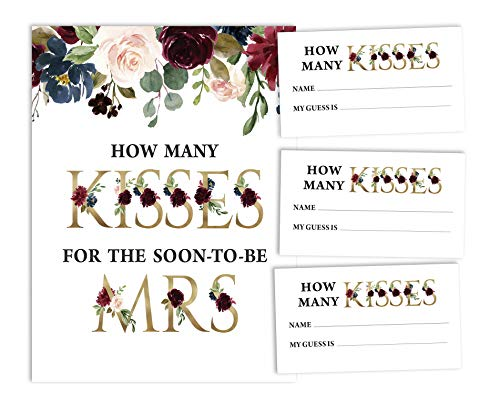 Inkdotpot How Many Kisses for The Soon to Be Mrs White Floral Bridal Shower Game 1 Sign + 30 Cards