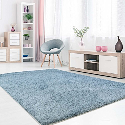 carpet city Shaggy Teppich-Läufer Micro Polyester Hochflor Einfarbig Blau Wohnzimmer Schlafzimmer, Größe: 80 x 150 cm