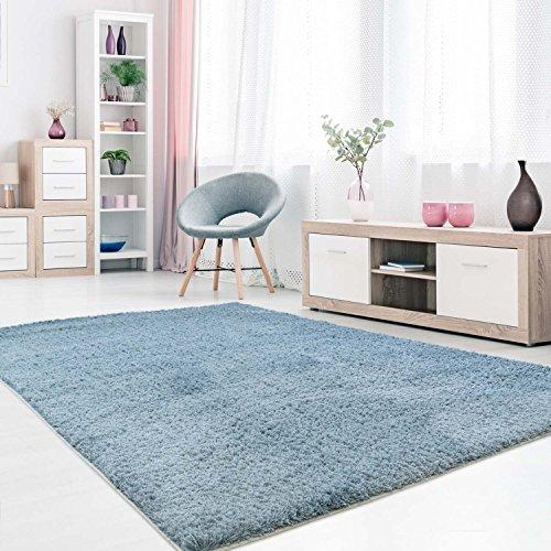 MyShop24h Teppich Wohnzimmer Blau Hochflor Shaggy 120x170cm Oeko-Tex Standard 100% Micro-Polyester Einfarbig Allergiker geeignet