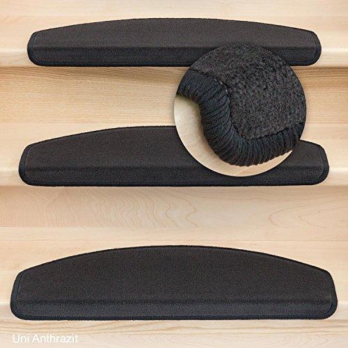 Stufenmatten Vorwerk Halbrund Uni / Anthrazit - Set 15 Stück