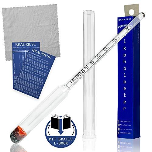 Brauriese Premium Alkoholmeter Set - Alkoholmessgerät inklusive edlem Kunststoffzylinder und praktischem Mikrofasertuch - ALL IN ONE SET - Hydrometer Alkohol - E-Book kommt per Mail (Ohne Thermometer)