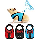 3 Pieces Guinea Pig Harness and Leash Soft Mesh Small Pet Harness with Bowknot Bell, No Pulling Comfort Padded Vest for Guinea Pigs, Ferret, Chinchilla, Rats (S, Black, Blue, Red)