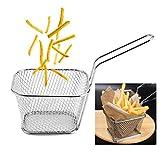 8 piezas Mini cestas de freír con mango, cesta de freidora cuadrada de acero inoxidable, cesta de pescado, colador de presentación de alimentos
