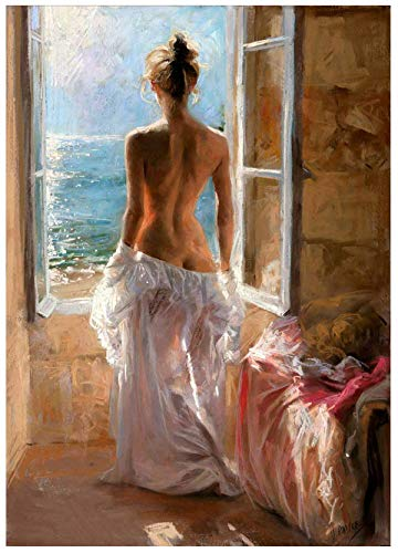 DIY Oil Painting Drawing with Brushes Paint, Paint by Number Kit for Adults Decoration-Nude Sexy Woman Body Art 40X50Cm/15.80X 19.70 Inch