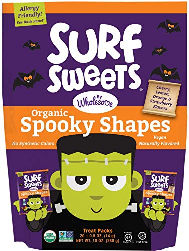 Surf Sweets Organic Fruit Snacks by Wholesome - Halloween Trick or Treat Candy Bags, 20-0.5 Ounce Pouches with Spooky Shapes in Cherry, Lemon, Orange and Strawberry Flavors - Gluten-Free, Non-GMO