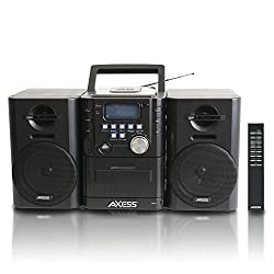 AXESS MS3912 Mini Entertainment System with AM FM USB CD MP3 Player Cassette Recorder With Headphone and Aux Jack,Axess,MS3912