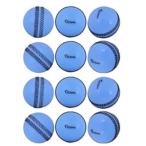 Kosma Juego de pelota de cricket Windball de 12 piezas   Pelotas de entrenamiento blandas   Pelotas de entrenamiento para habilidades de entrenamiento en interiores - Color: azul con costura negra