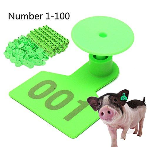 Plastique Vert 1–100 Nombre d'animaux bétail d'oreille Tag pour chèvre Mouton Pig