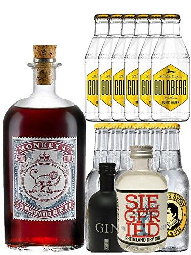 Gin-Set Monkey 47 SLOE GIN Schwarzwald Dry Gin 0,5 Liter + Black Gin Gansloser Deutschland 5cl + Siegfried Dry Gin Deutschland 4cl + 6 x Thomas Henry Tonic Water 0,2 Liter, 6 x Goldberg Tonic Water 0,2 Liter