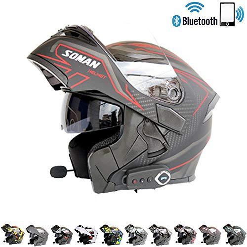 C-TK Bluetooth Integrado Modular Casco de la Motocicleta ECE 22.05 certificación Dot Seguridad estándar-Cara Completa Racing Casco de la Motocicleta General,2,M(57~58) CM