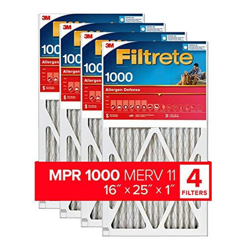 Filtrete 16x25x1, AC Furnace Air Filter, MPR 1000, Micro Allergen Defense, 4-Pack (exact dimensions 15.69 x 24.69 x 0.81)