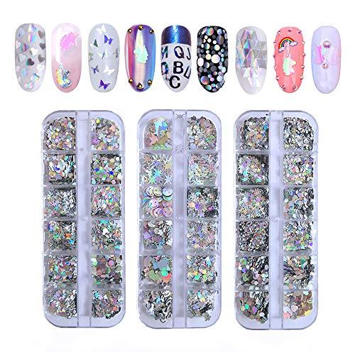 36 Forma de lentejuelas de uñas láser Ebanku Holográfica Escamas de brillo de uñas 3D Thin Butterfly Star Heart Redondo Confeti Nail Art Decoración de brillo (3 cajas)