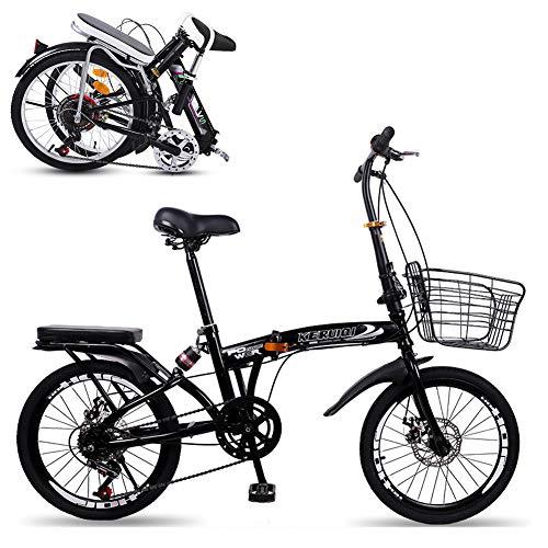 Adulto Bicicleta De Ciudad Estudiantes Bicicleta,Estante Trasero,Para Conmutar Escuela Ciudad Ciclismo,Mujeres Bicicleta Plegable 20 Pulgadas,Velocidad Variable,Absorción De Impactos,Con Una Canasta-B