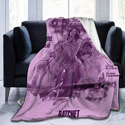 HUYIN Megan Thee Stallion Suave y cálido Throw Blanket-Soft Micro Fleece Blanket-Black-60 'x50'