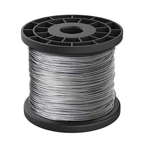 MHUI Cable De Alambre De Acero Inoxidable 304 32,8 Pies 7 X 19 Hilos De Núcleo Adecuado para Cables De Iluminación Entre Árboles (Diámetro 2/2,5/3 mm),2mmX10m
