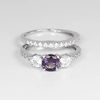 Color-Changing Alexandrite and White Diamonds Engagement Ring Set Sterling Silver