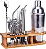 Bartender Kit Cocktail Shaker Set, AHNR 14-Piece Stainless Steel Bar Tool Set with Stylish Bamboo Stand...