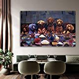 N / A Last Supper Dog Animal Wall Art Poster Canvas Mural Living Room Poster and Print Home Decor Frameless 50x80cm