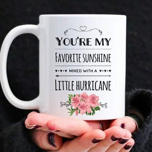 Lawenp Taza de café, regalo para hija, taza para hija, regalos para madre e hija, eres mi sol mezclado con un pequeño huracán, taza con nombre personalizado de 11 oz