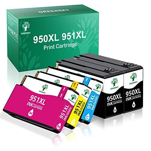 GREENSKY Kompatible Druckerpatronen Ersatz für HP 950XL 951XL Multipack für HP Officejet 8600 8610 8620 8100 8630 8640 8660 8615 8625 251dw 276dw (2 Schwarz, 1 Cyan, 1 Magenta, 1 Gelb, 5 Packung)